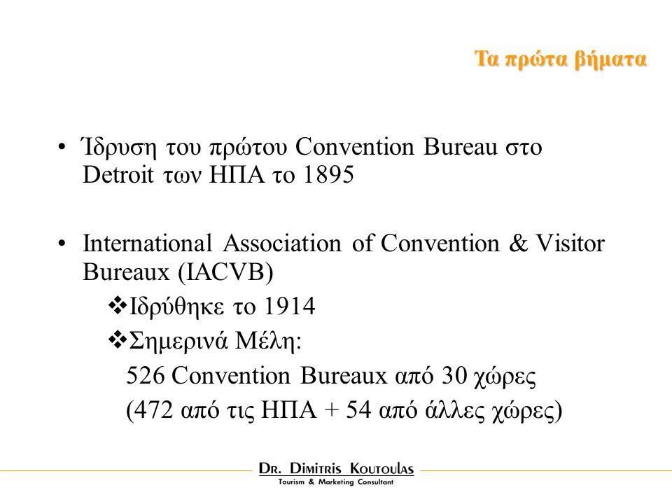 Ίδρυση του πρώτου Convention Bureau στο Detroit των HΠA το 1895 International Association of Convention & Visitor Bureaux (IACVB)  Iδρύθηκε το 1914  Σημερινά Mέλη: 526 Convention Bureaux από 30 χώρες (472 από τις ΗΠΑ + 54 από άλλες χώρες) Τα πρώτα βήματα