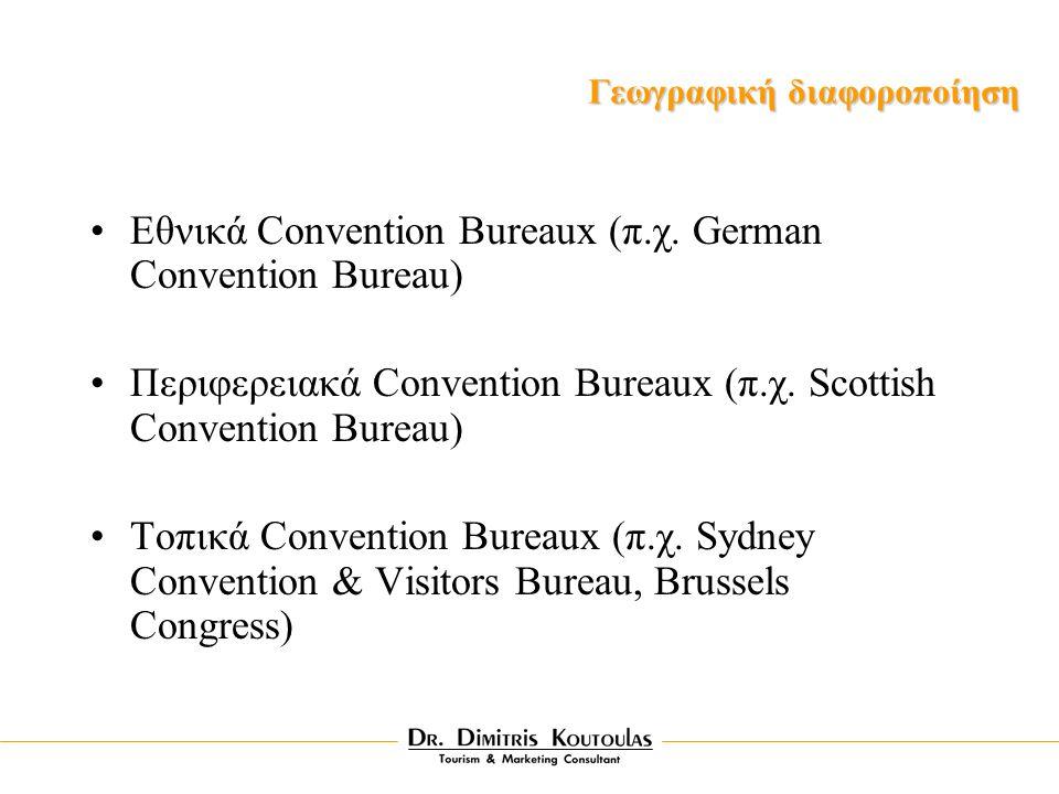 Eθνικά Convention Bureaux (π.χ. German Convention Bureau) Περιφερειακά Convention Bureaux (π.χ.