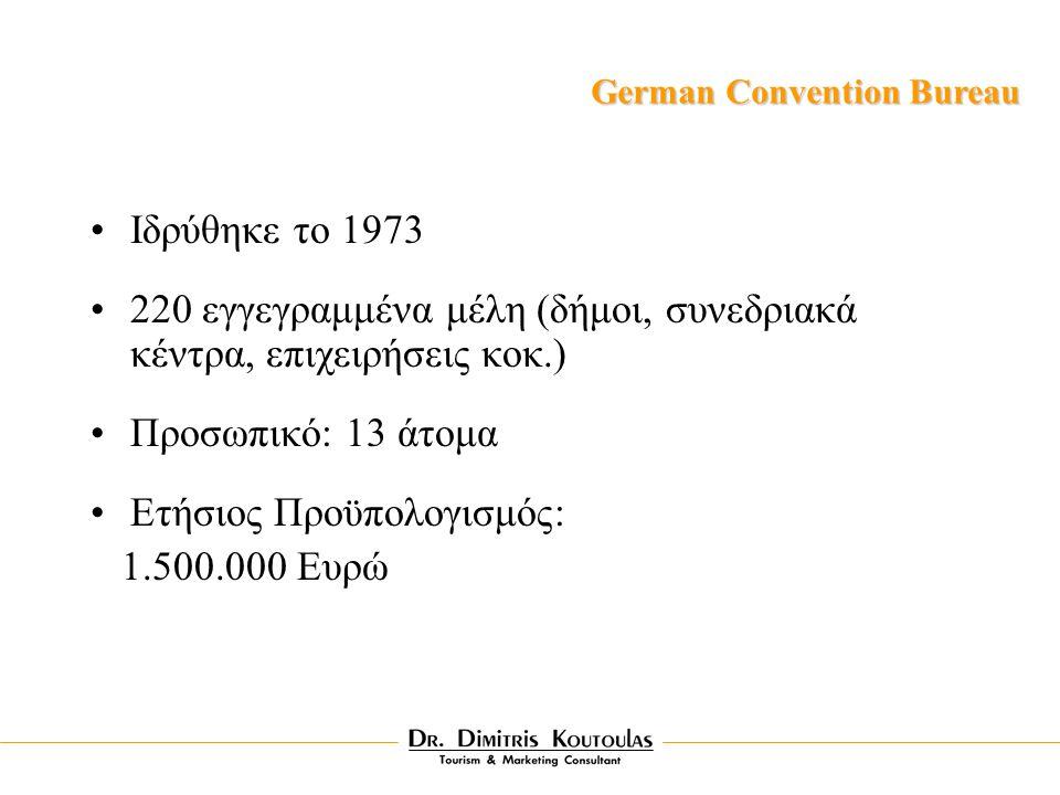 Iδρύθηκε το 1973 220 εγγεγραμμένα μέλη (δήμοι, συνεδριακά κέντρα, επιχειρήσεις κοκ.) Προσωπικό: 13 άτομα Ετήσιος Προϋπολογισμός: 1.500.000 Ευρώ German Convention Bureau