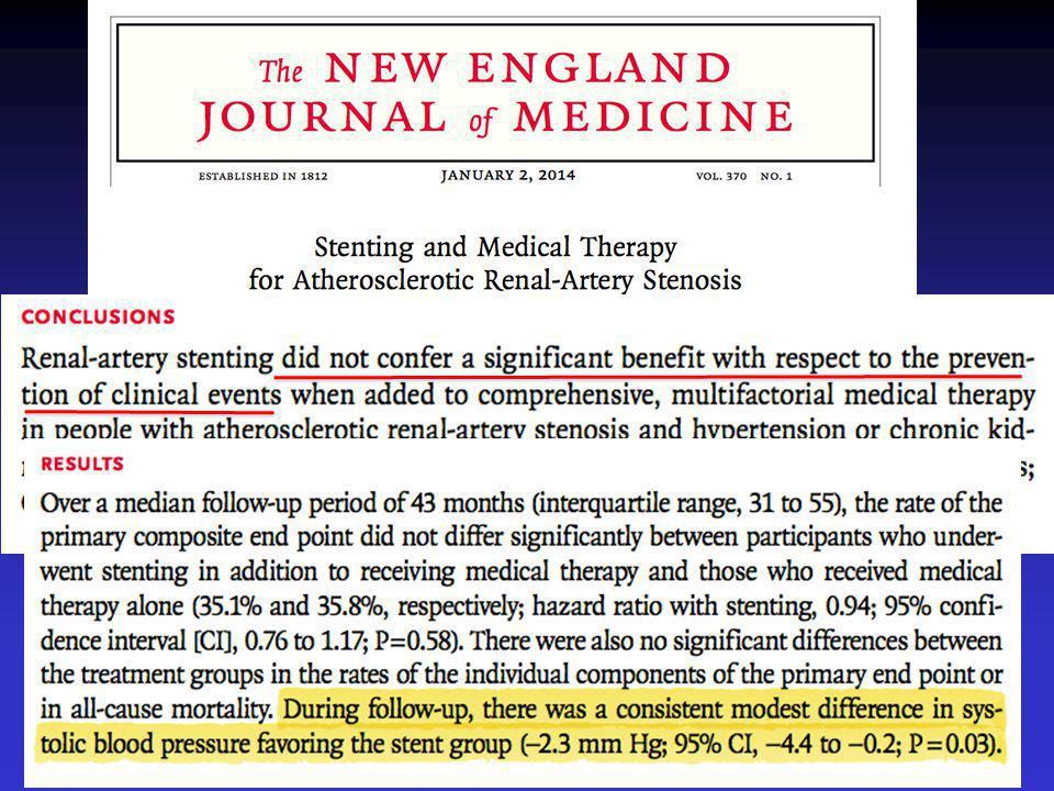 Συντηρητική θεραπεία μόνο Συντηρητική θεραπεία + stenting νεφρικής αρτηρίας Στένωση ΝΑ ≥ 60% Α.Π.