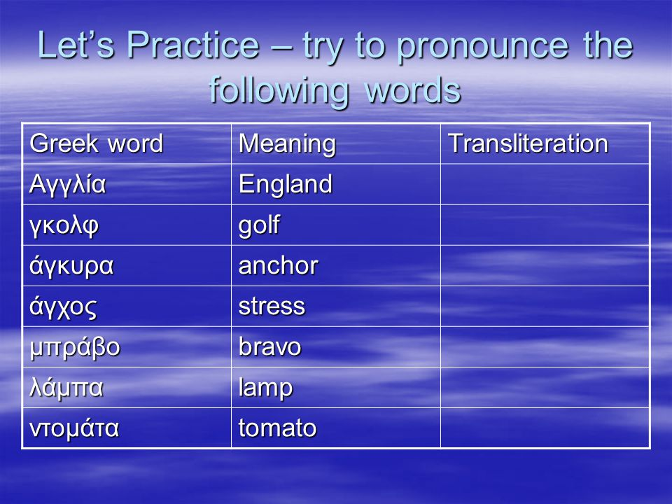 Let's Practice – try to pronounce the following words Greek word MeaningTransliteration ΑγγλίαEngland γκολφgolf άγκυραanchor άγχοςstress μπράβοbravo λ