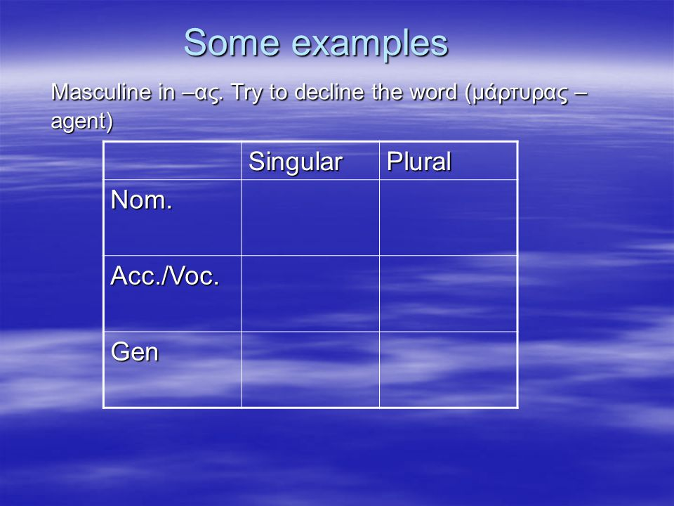 Some examples Masculine in –ας. Try to decline the word (μάρτυρας – agent) SingularPlural Nom.