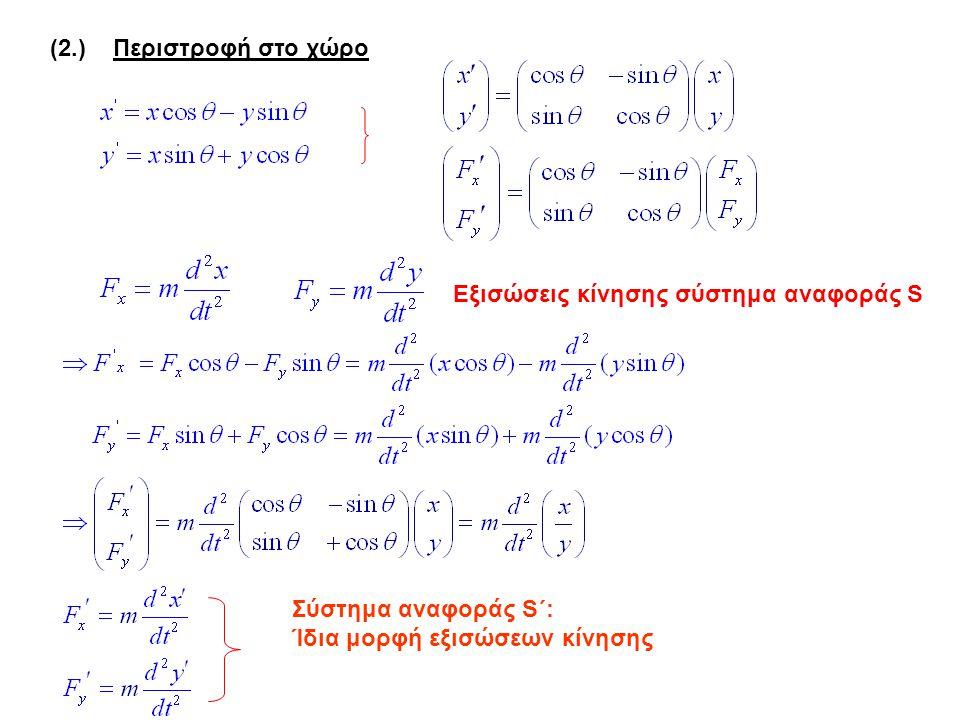 (2.) Περιστροφή στο χώρο Εξισώσεις κίνησης σύστημα αναφοράς S Σύστημα αναφοράς S΄: Ίδια μορφή εξισώσεων κίνησης