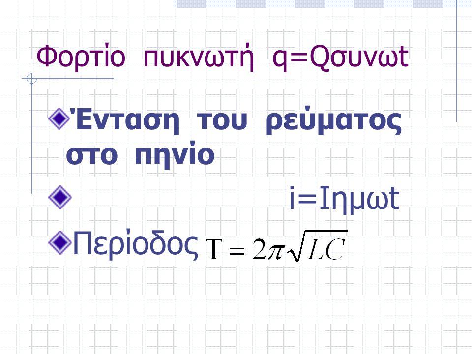 Φορτίο πυκνωτή q=Qσυνωt Ένταση του ρεύματος στο πηνίο i=Ιημωt Περίοδος