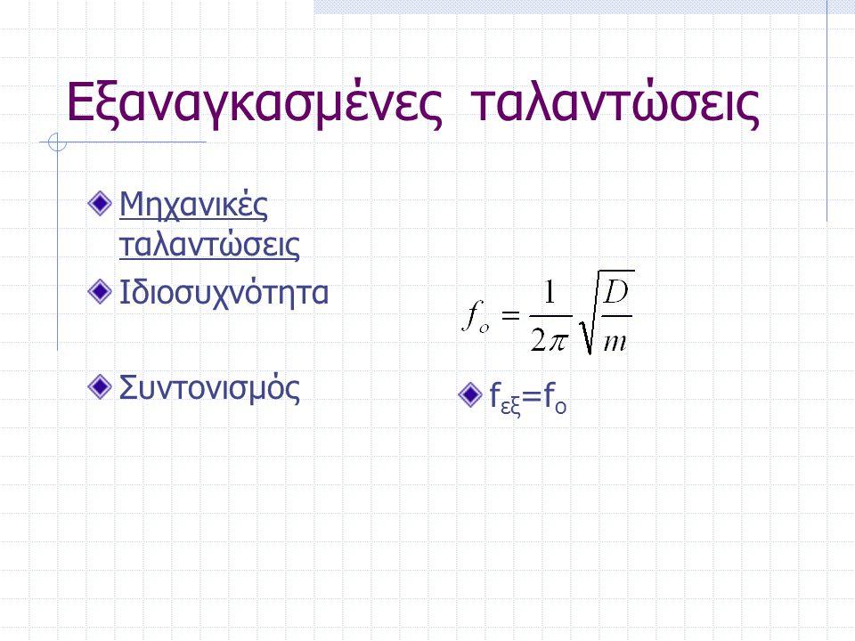 Εξαναγκασμένες ταλαντώσεις Μηχανικές ταλαντώσεις Ιδιοσυχνότητα Συντονισμός f εξ =f o