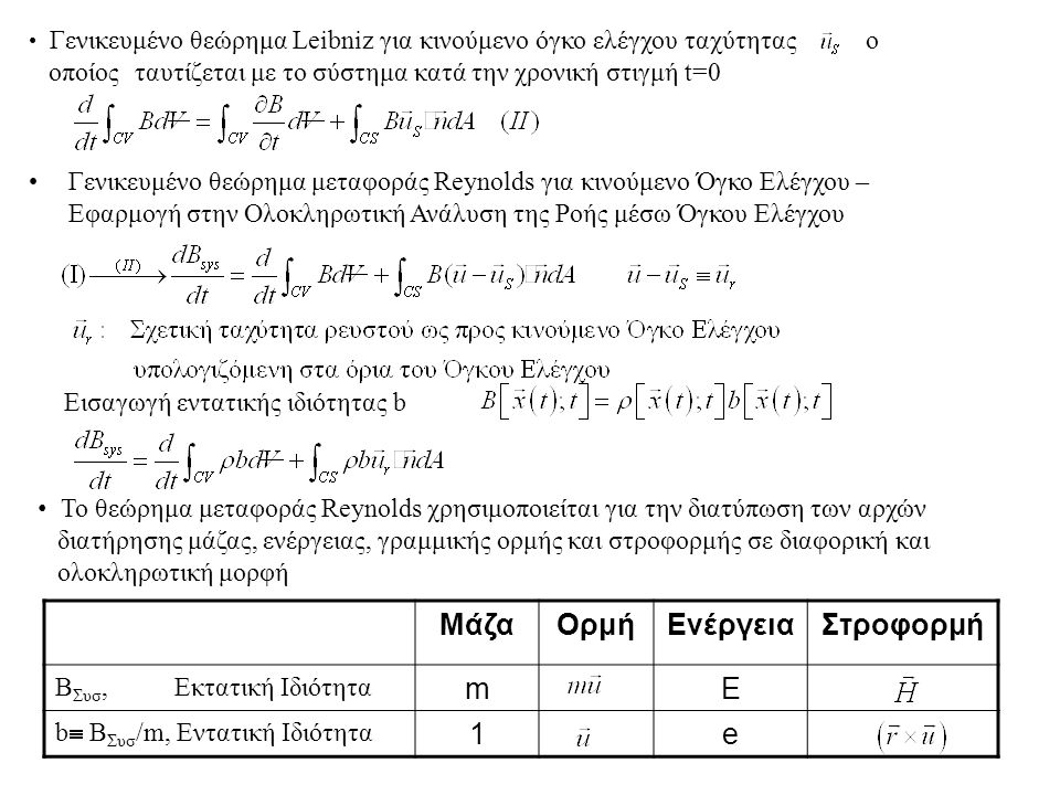 Θεώρημα Μεταφοράς Reynolds Ερμηνεία: –Η χρονική μεταβολή της ιδιότητας B του συστήματος ισούται με το άθροισμα (Όρος 1) + (Όρος 2) –Όρος 1: Χρονική μεταβολή της B μέσα στον Όγκο Ελέγχου –Όρος 2: Καθαρή εκροή της ιδιότητας Β από τον Όγκο Ελέγχου μέσω των τοιχωμάτων της διεπιφάνειάς του με το περιβάλλον 1 ος Όρος2 ος Όρος για ακίνητο ΟΕ