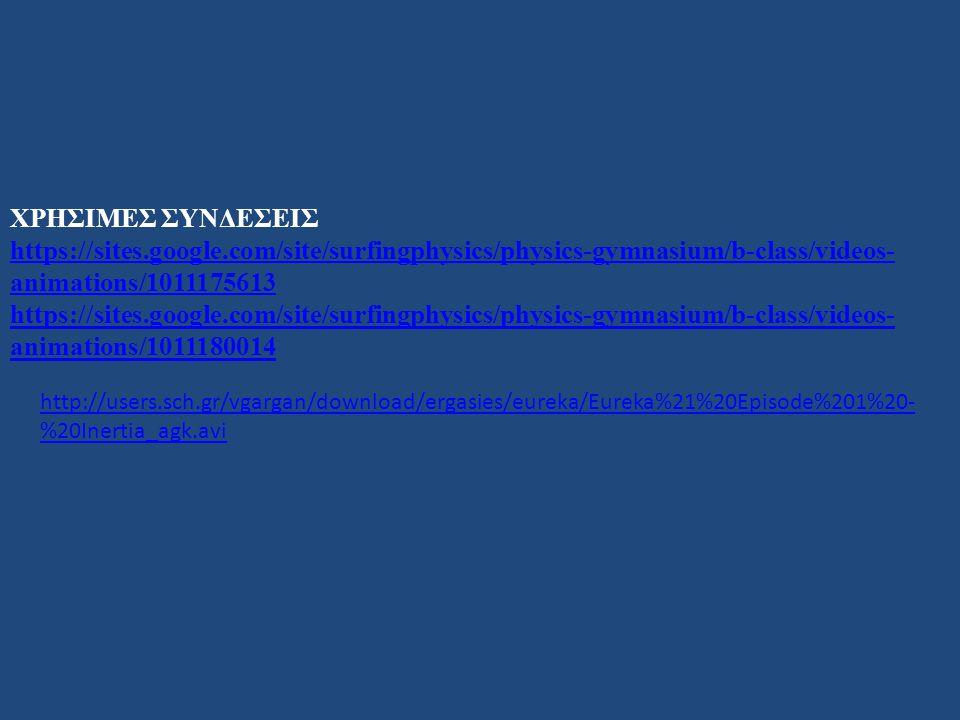 ΧΡΗΣΙΜΕΣ ΣΥΝΔΕΣΕΙΣ https://sites.google.com/site/surfingphysics/physics-gymnasium/b-class/videos- animations/1011175613 https://sites.google.com/site/surfingphysics/physics-gymnasium/b-class/videos- animations/1011180014 http://users.sch.gr/vgargan/download/ergasies/eureka/Eureka%21%20Episode%201%20- %20Inertia_agk.avi