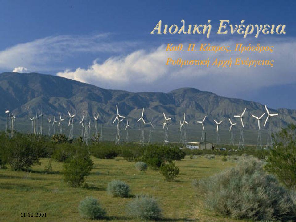 11.12.20011 Αιολική Ενέργεια Καθ. Π. Κάπρος, Πρόεδρος Ρυθμιστική Αρχή Ενέργειας
