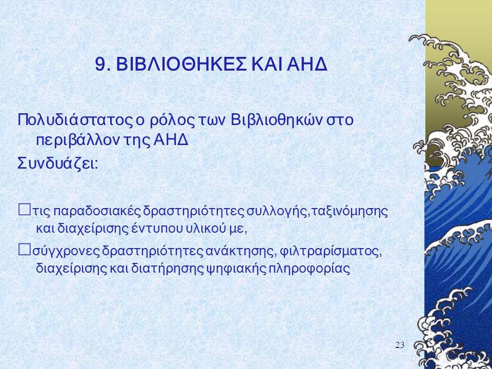 23 9. ΒΙΒΛΙΟΘΗΚΕΣ ΚΑΙ ΑΗΔ Πολυδιάστατος ο ρόλος των Βιβλιοθηκών στο περιβάλλον της ΑΗΔ Συνδυάζει:  τις παραδοσιακές δραστηριότητες συλλογής,ταξινόμησ