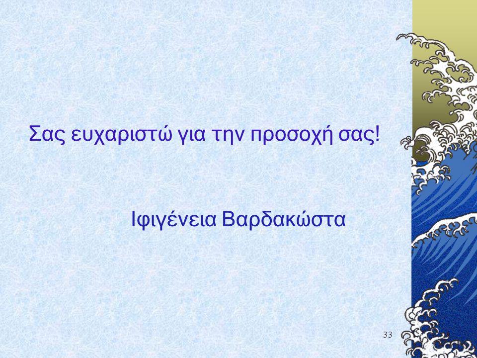 33 Σας ευχαριστώ για την προσοχή σας! Ιφιγένεια Βαρδακώστα