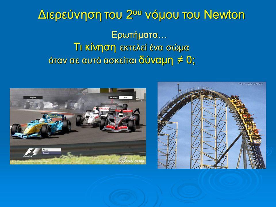 Διερεύνηση του 2 ου νόμου του Newton Ερωτήματα… Τι κίνηση εκτελεί ένα σώμα Τι κίνηση εκτελεί ένα σώμα όταν σε αυτό ασκείται δύναμη ≠ 0; όταν σε αυτό ασκείται δύναμη ≠ 0;