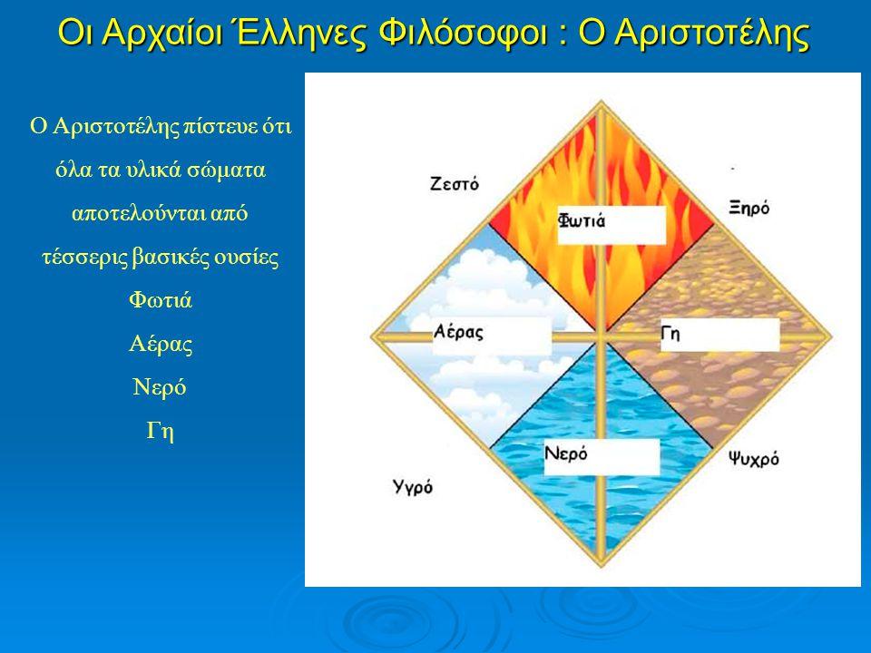 Ο Αριστοτέλης πίστευε ότι όλα τα υλικά σώματα αποτελούνται από τέσσερις βασικές ουσίες Φωτιά Αέρας Νερό Γη Οι Αρχαίοι Έλληνες Φιλόσοφοι : Ο Αριστοτέλη