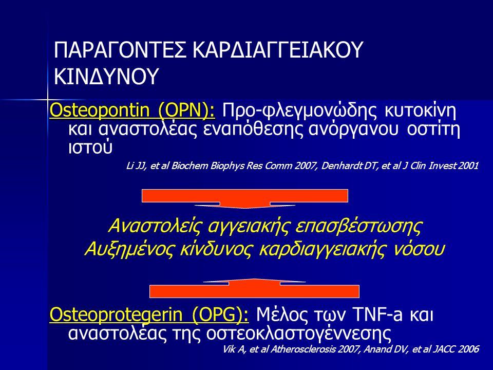 ΠΑΡΑΓΟΝΤΕΣ ΚΑΡΔΙΑΓΓΕΙΑΚΟΥ ΚΙΝΔΥΝΟΥ Osteopontin (OPN): Osteopontin (OPN): Προ-φλεγμονώδης κυτοκίνη και αναστολέας εναπόθεσης ανόργανου οστίτη ιστού Li