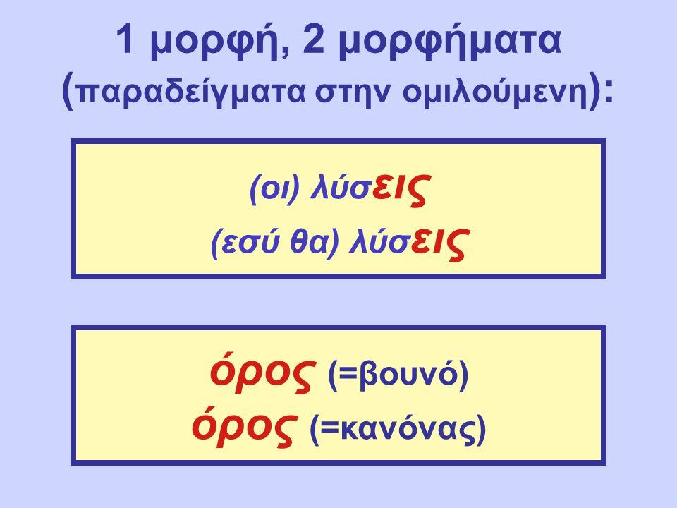1 μορφή, 2 μορφήματα ( παραδείγματα στην ομιλούμενη ): (οι) λύσ εις (εσύ θα) λύσ εις όρος (=βουνό) όρος (=κανόνας)