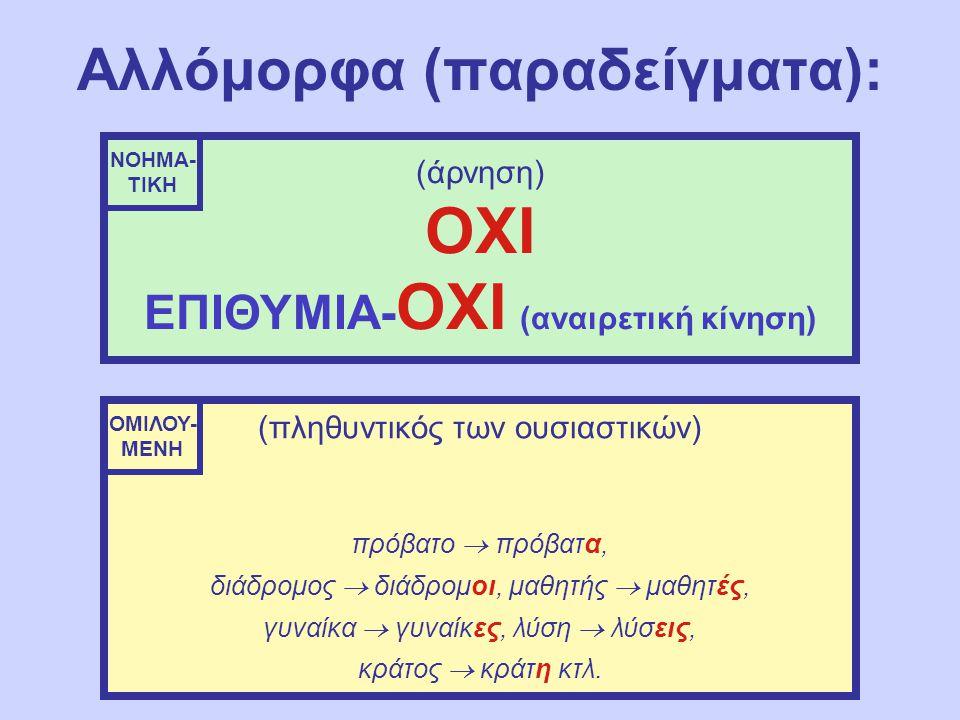 Αλλόμορφα (παραδείγματα): (άρνηση) ΟΧΙ ΕΠΙΘΥΜΙΑ- ΟΧΙ (αναιρετική κίνηση) (πληθυντικός των ουσιαστικών) πρόβατο  πρόβατα, διάδρομος  διάδρομοι, μαθητής  μαθητές, γυναίκα  γυναίκες, λύση  λύσεις, κράτος  κράτη κτλ.
