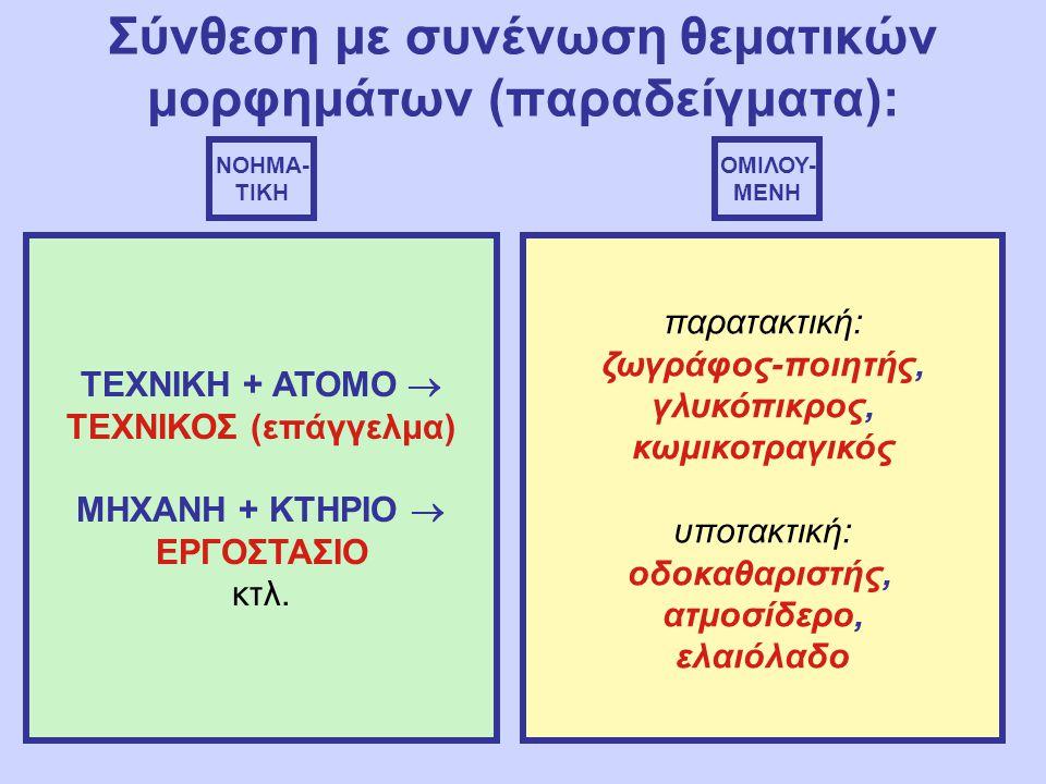 Σύνθεση με συνένωση θεματικών μορφημάτων (παραδείγματα): ΝΟΗΜΑ- ΤΙΚΗ ΟΜΙΛΟΥ- ΜΕΝΗ ΤΕΧΝΙΚΗ + ΑΤΟΜΟ  ΤΕΧΝΙΚΟΣ (επάγγελμα) ΜΗΧΑΝΗ + ΚΤΗΡΙΟ  ΕΡΓΟΣΤΑΣΙΟ κτλ.