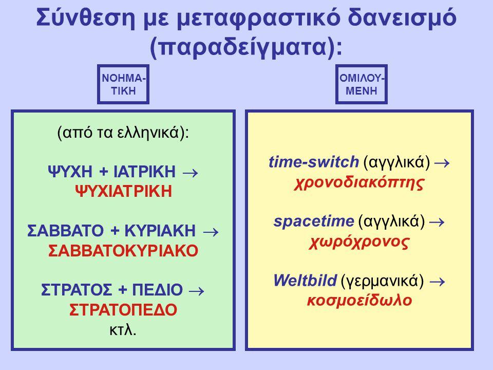 Σύνθεση με μεταφραστικό δανεισμό (παραδείγματα): ΝΟΗΜΑ- ΤΙΚΗ ΟΜΙΛΟΥ- ΜΕΝΗ (από τα ελληνικά): ΨΥΧΗ + ΙΑΤΡΙΚΗ  ΨΥΧΙΑΤΡΙΚΗ ΣΑΒΒΑΤΟ + ΚΥΡΙΑΚΗ  ΣΑΒΒΑΤΟΚΥΡΙΑΚΟ ΣΤΡΑΤΟΣ + ΠΕΔΙΟ  ΣΤΡΑΤΟΠΕΔΟ κτλ.