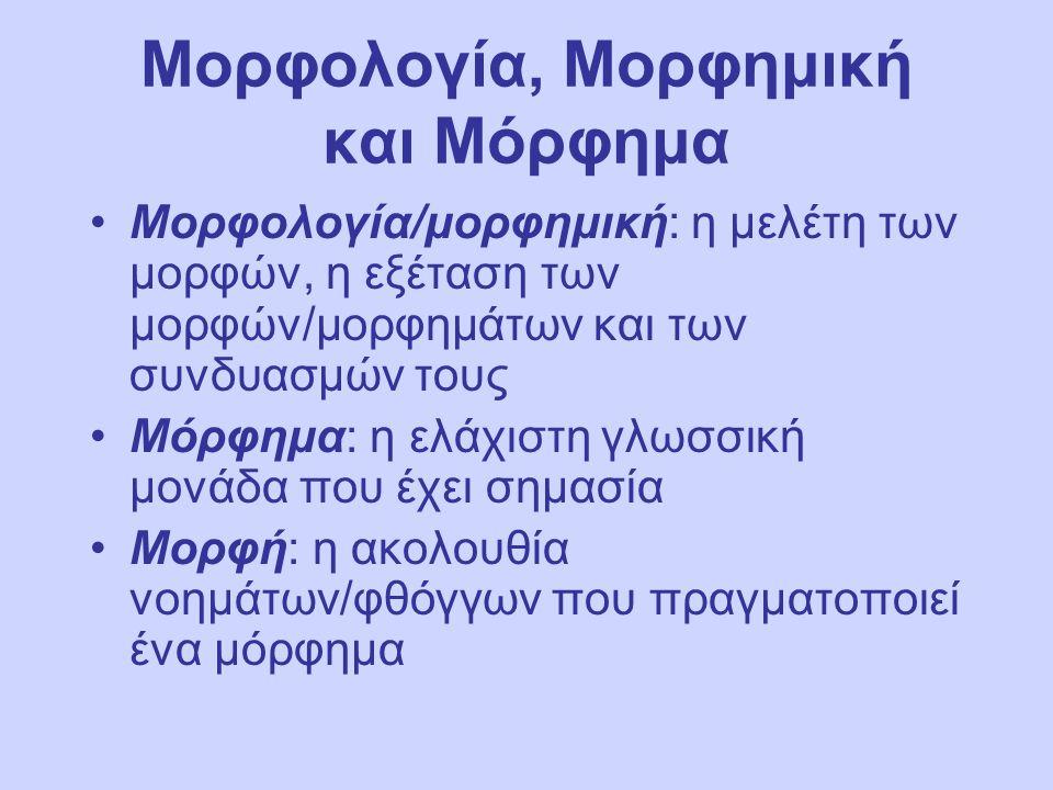 Μορφολογία, Μορφημική και Μόρφημα Μορφολογία/μορφημική: η μελέτη των μορφών, η εξέταση των μορφών/μορφημάτων και των συνδυασμών τους Μόρφημα: η ελάχιστη γλωσσική μονάδα που έχει σημασία Μορφή: η ακολουθία νοημάτων/φθόγγων που πραγματοποιεί ένα μόρφημα