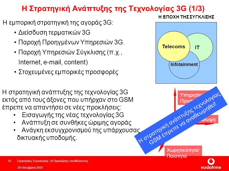 29 Οκτωβρίου 2007 Στρατηγικές Τεχνολογίας: Οι Προκλήσεις του Μέλλοντος15 Η Στρατηγική Ανάπτυξης της Τεχνολογίας 3G (1/3) Η εμπορική στρατηγική της αγοράς 3G: Διείσδυση τερματικών 3G Παροχή Προηγμένων Υπηρεσιών 3G.