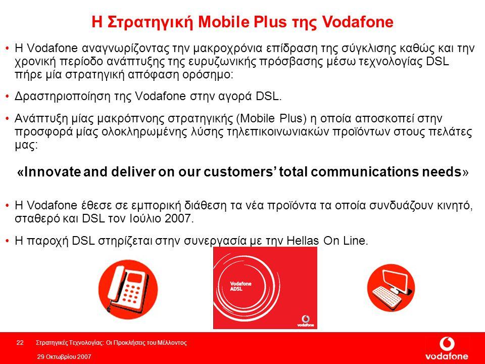 29 Οκτωβρίου 2007 Στρατηγικές Τεχνολογίας: Οι Προκλήσεις του Μέλλοντος22 H Vodafone αναγνωρίζοντας την μακροχρόνια επίδραση της σύγκλισης καθώς και την χρονική περίοδο ανάπτυξης της ευρυζωνικής πρόσβασης μέσω τεχνολογίας DSL πήρε μία στρατηγική απόφαση ορόσημο: Δραστηριοποίηση της Vodafone στην αγορά DSL.