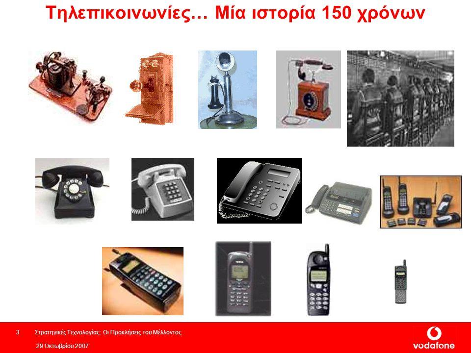 29 Οκτωβρίου 2007 Στρατηγικές Τεχνολογίας: Οι Προκλήσεις του Μέλλοντος3 Τηλεπικοινωνίες… Μία ιστορία 150 χρόνων