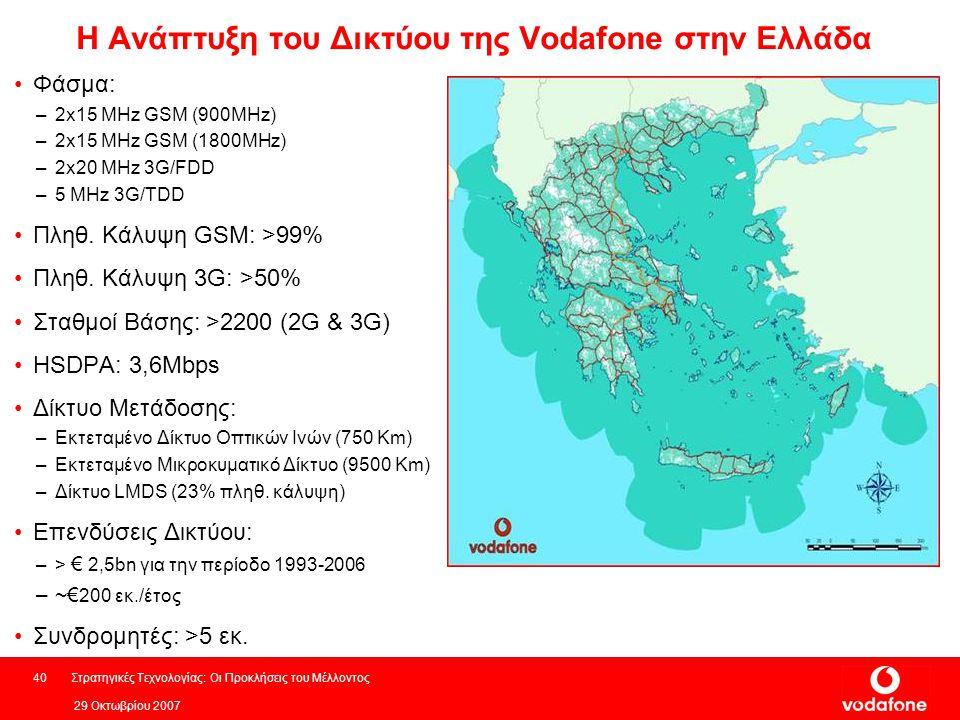 29 Οκτωβρίου 2007 Στρατηγικές Τεχνολογίας: Οι Προκλήσεις του Μέλλοντος40 Η Ανάπτυξη του Δικτύου της Vodafone στην Ελλάδα Φάσμα: –2x15 MHz GSM (900MHz) –2x15 MHz GSM (1800MHz) –2x20 MHz 3G/FDD –5 MHz 3G/TDD Πληθ.