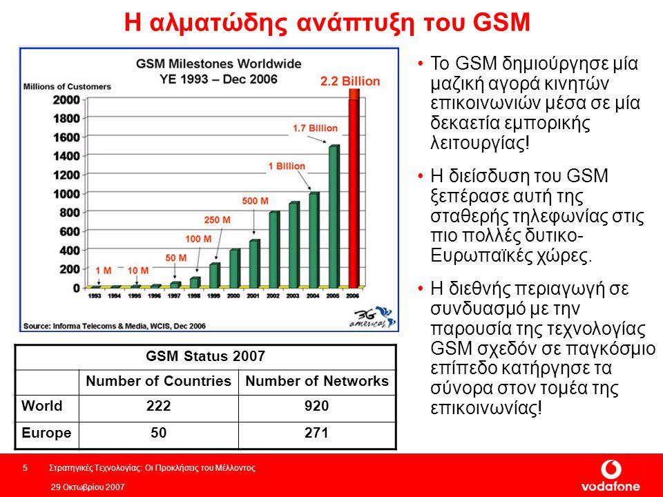 29 Οκτωβρίου 2007 Στρατηγικές Τεχνολογίας: Οι Προκλήσεις του Μέλλοντος5 Η αλματώδης ανάπτυξη του GSM GSM Status 2007 Number of CountriesNumber of Networks World222920 Europe50271 Το GSM δημιούργησε μία μαζική αγορά κινητών επικοινωνιών μέσα σε μία δεκαετία εμπορικής λειτουργίας.