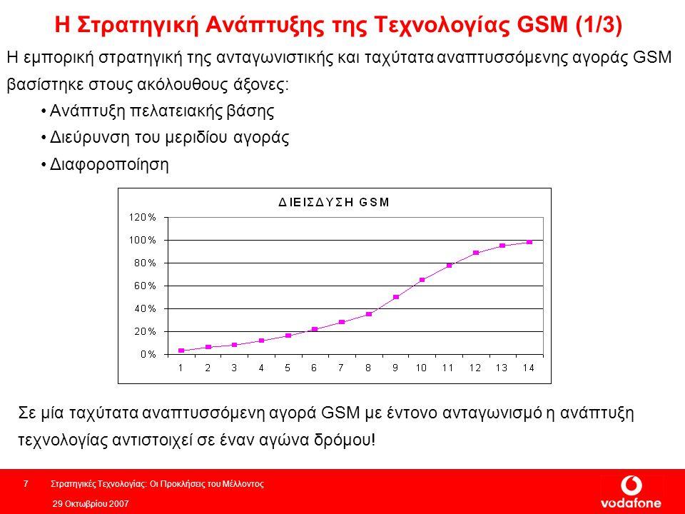 29 Οκτωβρίου 2007 Στρατηγικές Τεχνολογίας: Οι Προκλήσεις του Μέλλοντος7 Η Στρατηγική Ανάπτυξης της Τεχνολογίας GSM (1/3) Η εμπορική στρατηγική της ανταγωνιστικής και ταχύτατα αναπτυσσόμενης αγοράς GSM βασίστηκε στους ακόλουθους άξονες: Ανάπτυξη πελατειακής βάσης Διεύρυνση του μεριδίου αγοράς Διαφοροποίηση Σε μία ταχύτατα αναπτυσσόμενη αγορά GSM με έντονο ανταγωνισμό η ανάπτυξη τεχνολογίας αντιστοιχεί σε έναν αγώνα δρόμου!