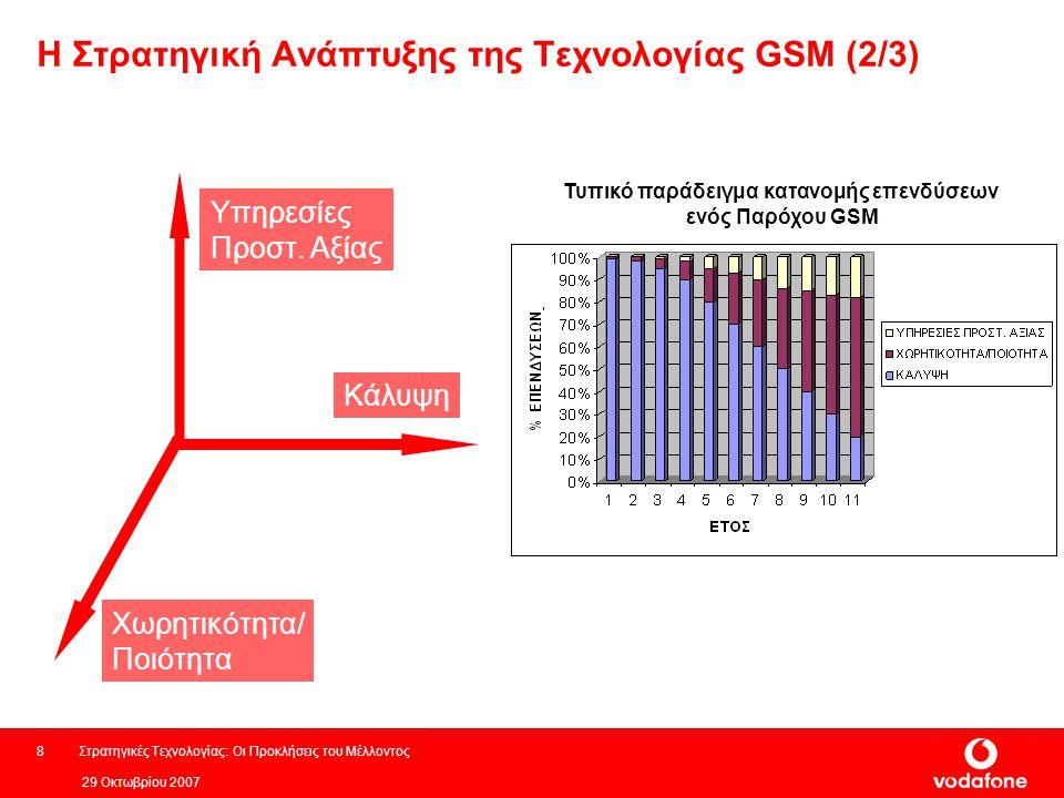 29 Οκτωβρίου 2007 Στρατηγικές Τεχνολογίας: Οι Προκλήσεις του Μέλλοντος8 Η Στρατηγική Ανάπτυξης της Τεχνολογίας GSM (2/3) Κάλυψη Χωρητικότητα/ Ποιότητα Υπηρεσίες Προστ.