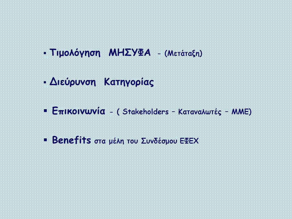  Τιμολόγηση ΜΗΣΥΦΑ - (Μετάταξη)  Διεύρυνση Κατηγορίας  Επικοινωνία - ( Stakeholders – Καταναλωτές – ΜΜΕ)  Benefits στα μέλη του Συνδέσμου ΕΦΕΧ