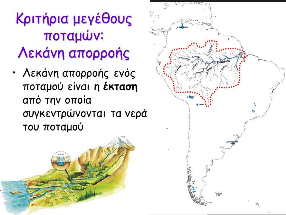 Κριτήρια μεγέθους ποταμών: Λεκάνη απορροής Λεκάνη απορροής ενός ποταμού είναι η έκταση από την οποία συγκεντρώνονται τα νερά του ποταμού Είναι το απόλυτο κριτήριο; Τι συμβαίνει όταν το κλίμα είναι ξερό;