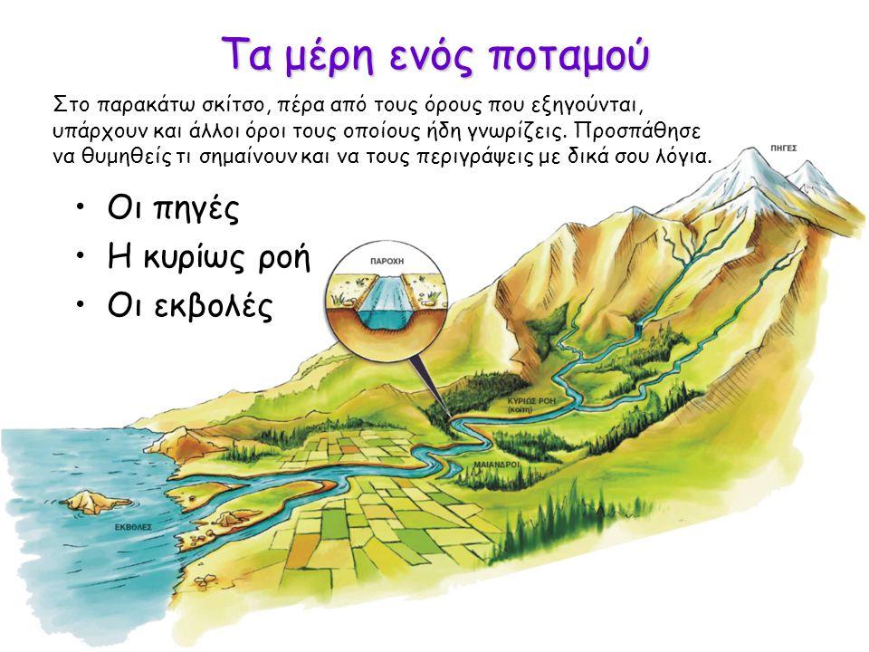 Τα μέρη ενός ποταμού Οι πηγές Η κυρίως ροή Οι εκβολές Στο παρακάτω σκίτσο, πέρα από τους όρους που εξηγούνται, υπάρχουν και άλλοι όροι τους οποίους ήδη γνωρίζεις.