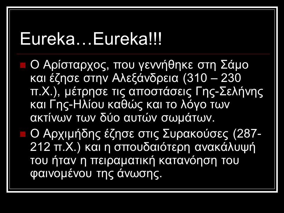 Eureka…Eureka!!! Ο Αρίσταρχος, που γεννήθηκε στη Σάμο και έζησε στην Αλεξάνδρεια (310 – 230 π.Χ.), μέτρησε τις αποστάσεις Γης-Σελήνης και Γης-Ηλίου κα
