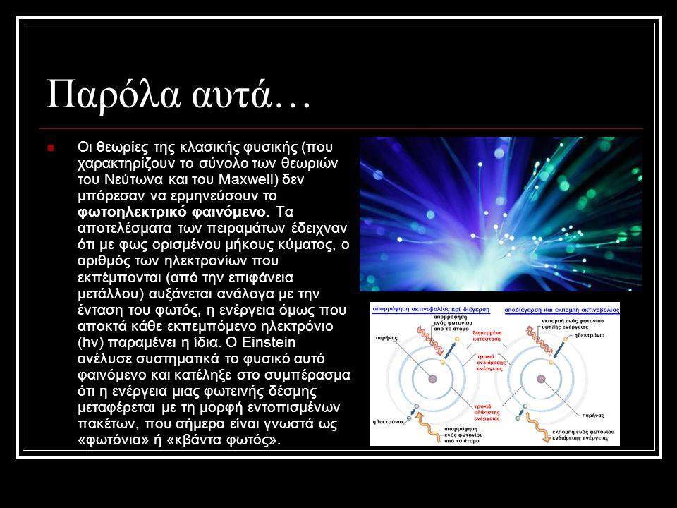 Παρόλα αυτά… Οι θεωρίες της κλασικής φυσικής (που χαρακτηρίζουν το σύνολο των θεωριών του Νεύτωνα και του Maxwell) δεν μπόρεσαν να ερμηνεύσουν το φωτο