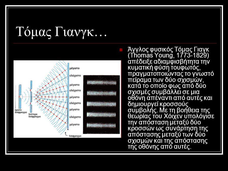 Τόμας Γιανγκ… Άγγλος φυσικός Τόμας Γιαγκ (Thomas Young, 1773-1829) απέδειξε αδιαμφισβήτητα την κυματική φύση τουφωτός, πραγματοποιώντας το γνωστό πείρ