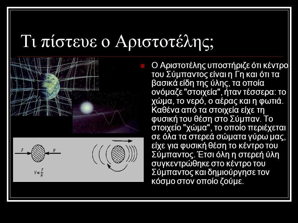 Τι πίστευε ο Αριστοτέλης; Ο Αριστοτέλης υποστήριζε ότι κέντρο του Σύμπαντος είναι η Γη και ότι τα βασικά είδη της ύλης, τα οποία ονόμαζε