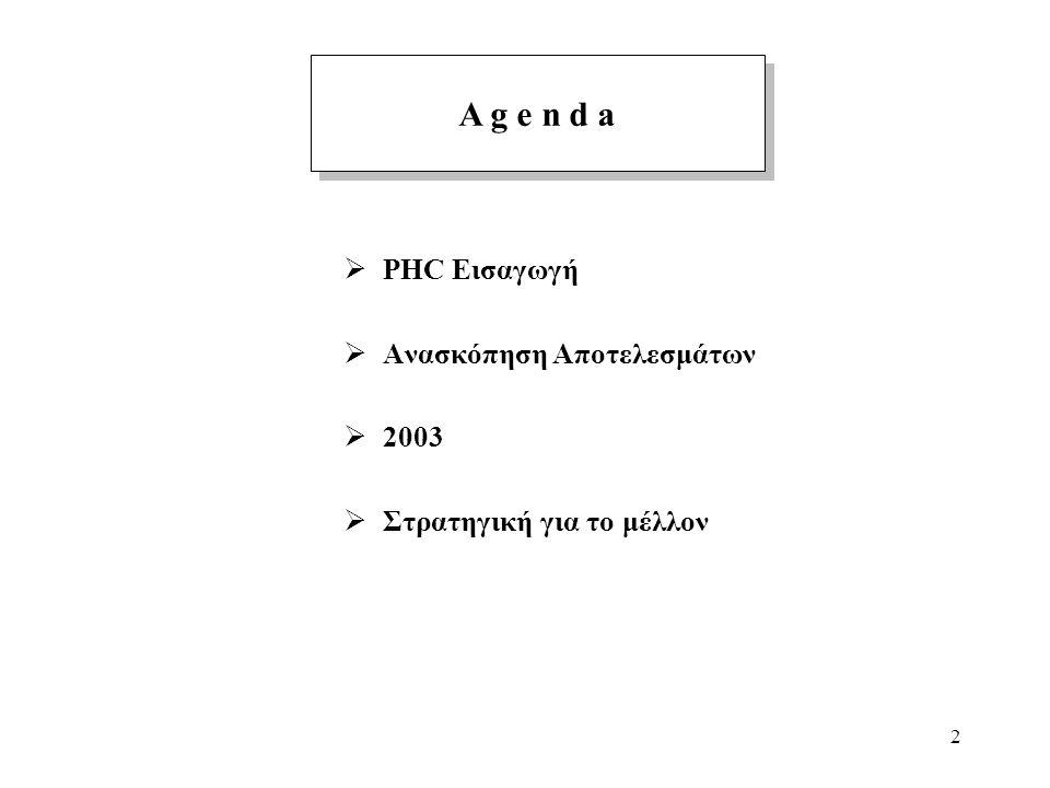 2  PHC Εισαγωγή  Ανασκόπηση Αποτελεσμάτων  2003  Στρατηγική για το μέλλον A g e n d a