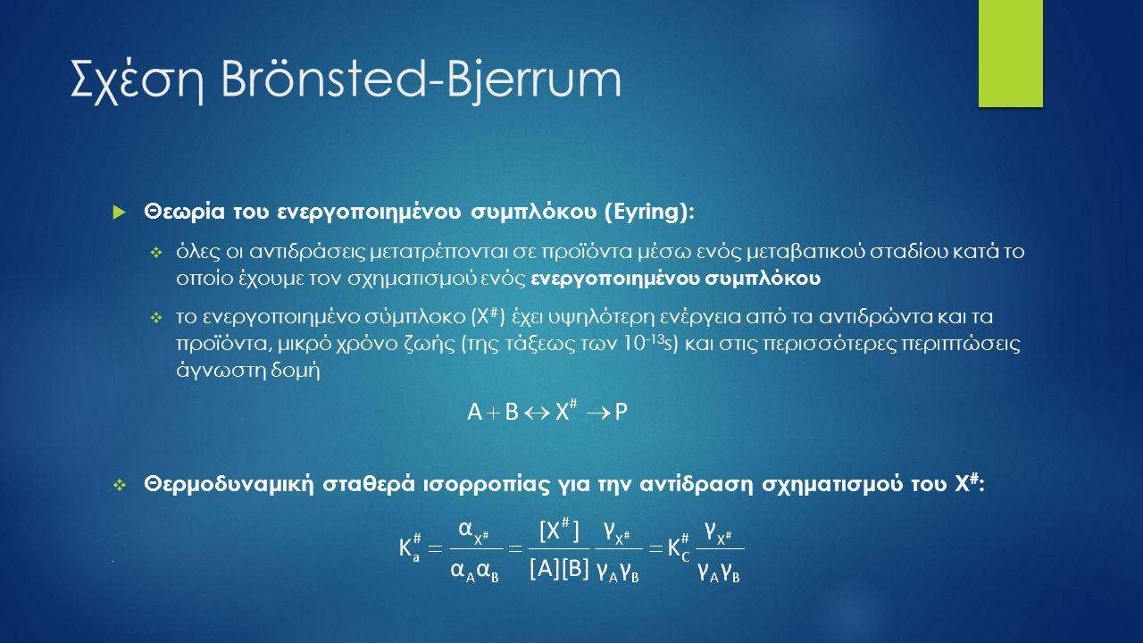 Σχέση Brönsted-Bjerrum  Θεωρία του ενεργοποιημένου συμπλόκου (Eyring):  όλες οι αντιδράσεις μετατρέπονται σε προϊόντα μέσω ενός μεταβατικού σταδίου κατά το οποίο έχουμε τον σχηματισμού ενός ενεργοποιημένου συμπλόκου  το ενεργοποιημένο σύμπλοκο (Χ # ) έχει υψηλότερη ενέργεια από τα αντιδρώντα και τα προϊόντα, μικρό χρόνο ζωής (της τάξεως των 10 -13 s) και στις περισσότερες περιπτώσεις άγνωστη δομή  Θερμοδυναμική σταθερά ισορροπίας για την αντίδραση σχηματισμού του Χ # :.
