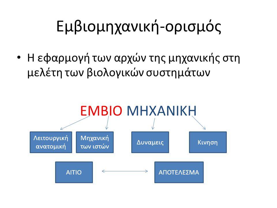 Εμβιομηχανική-ορισμός Η εφαρμογή των αρχών της μηχανικής στη μελέτη των βιολογικών συστημάτων ΕΜΒΙΟ ΜΗΧΑΝΙΚΗ Λειτουργική ανατομική Μηχανική των ιστών