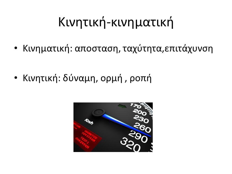 Κινητική-κινηματική Κινηματική: αποσταση, ταχύτητα,επιτάχυνση Κινητική: δύναμη, ορμή, ροπή