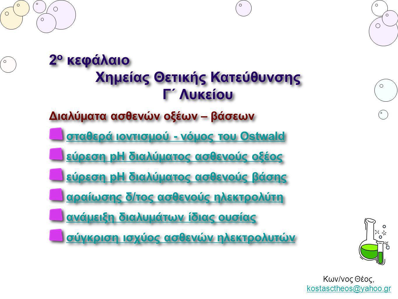 Κων/νος Θέος, kostasctheos@yahoo.gr kostasctheos@yahoo.gr Βαθμός ιοντισμού (α) Σταθερά ιοντισμού (Κa, Kb) Νόμος του Ostwald Βαθμός ιοντισμού (α) Σταθερά ιοντισμού (Κa, Kb) Νόμος του Ostwald