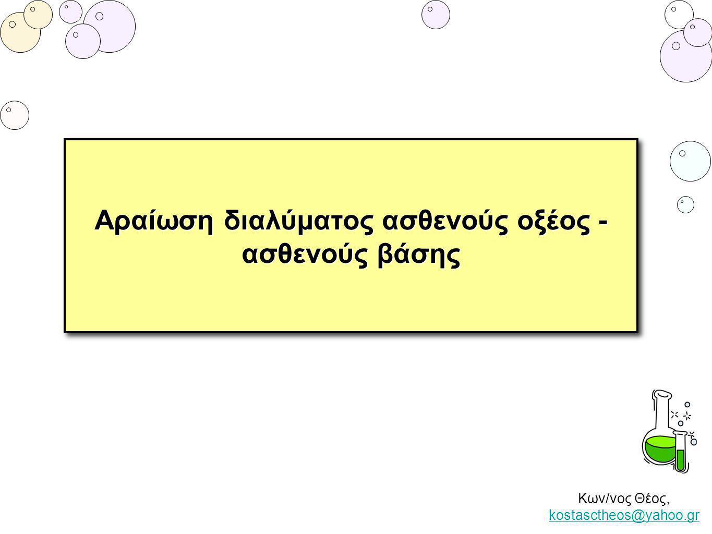 Κων/νος Θέος, kostasctheos@yahoo.gr kostasctheos@yahoo.gr Αραίωση διαλύματος ισχυρού ηλεκτρολύτη Θεωρούμε υδατικό διάλυμα ασθενούς οξέος συγκέντρωσης C 1.