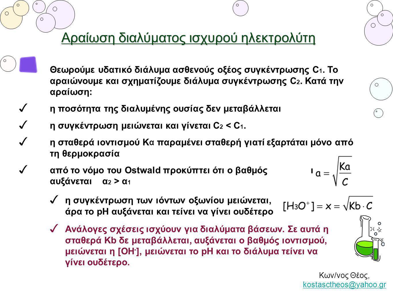 Κων/νος Θέος, kostasctheos@yahoo.gr kostasctheos@yahoo.gr Αραίωση διαλύματος ασθενούς βάσης Α.