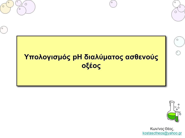 Κων/νος Θέος, kostasctheos@yahoo.gr kostasctheos@yahoo.gr pH υδατικού διαλύματος ασθενούς οξέος ΗΑ Όταν το διάλυμα περιέχει μόνο του το ασθενές οξύ και ισχύουν οι προϋποθέσεις μπορούμε να εφαρμόζουμε το νόμο του Ostwald Υδατικό διάλυμα αιθανικού οξέος (CH 3 COOH) έχει συγκέντρωση 0,1 Μ.