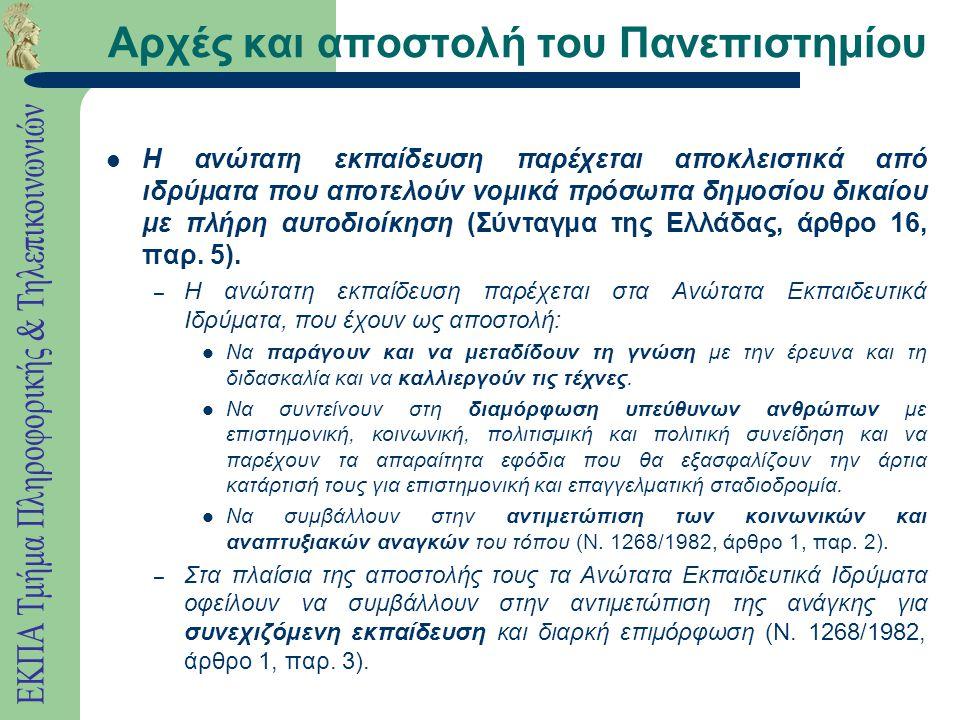 Αρχές και αποστολή του Πανεπιστημίου Η ανώτατη εκπαίδευση παρέχεται αποκλειστικά από ιδρύματα που αποτελούν νομικά πρόσωπα δημοσίου δικαίου με πλήρη αυτοδιοίκηση (Σύνταγμα της Ελλάδας, άρθρο 16, παρ.