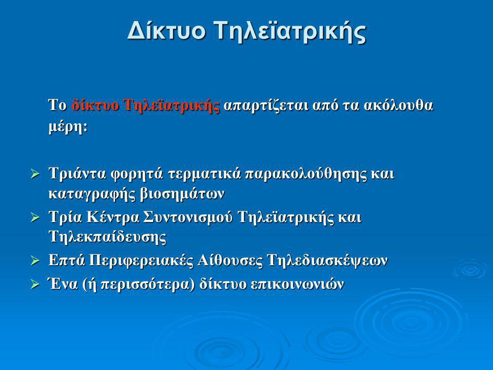 Δίκτυο Τηλεϊατρικής Το δίκτυο Τηλεϊατρικής απαρτίζεται από τα ακόλουθα μέρη: Το δίκτυο Τηλεϊατρικής απαρτίζεται από τα ακόλουθα μέρη:  Τριάντα φορητά τερματικά παρακολούθησης και καταγραφής βιοσημάτων  Τρία Κέντρα Συντονισμού Τηλεϊατρικής και Τηλεκπαίδευσης  Επτά Περιφερειακές Αίθουσες Τηλεδιασκέψεων  Ένα (ή περισσότερα) δίκτυο επικοινωνιών