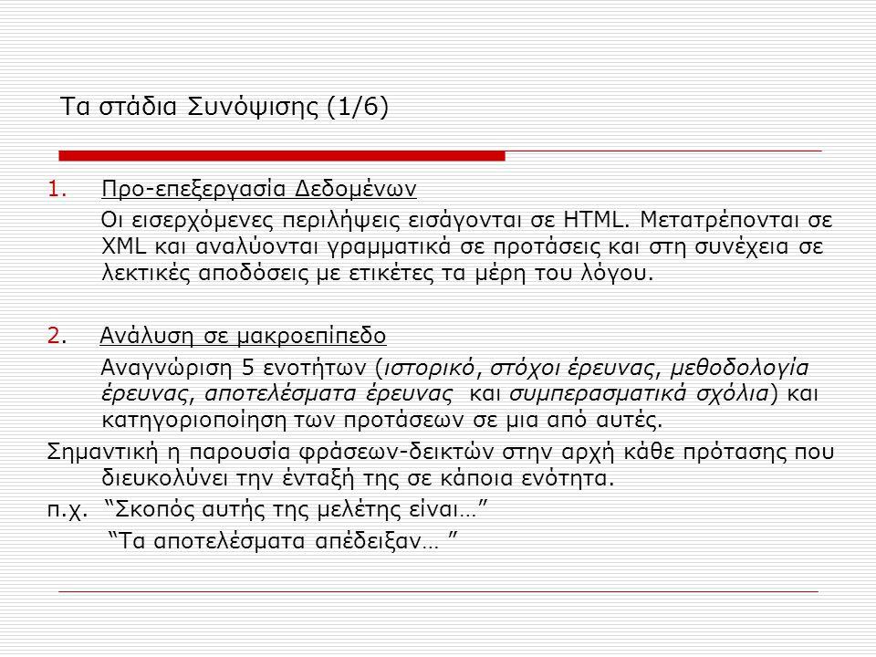 Τα στάδια Συνόψισης (1/6) 1.Προ-επεξεργασία Δεδομένων Οι εισερχόμενες περιλήψεις εισάγονται σε HTML. Μετατρέπονται σε XML και αναλύονται γραμματικά σε