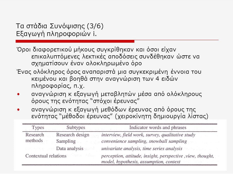 Τα στάδια Συνόψισης (3/6) Εξαγωγή πληροφοριών i. Όροι διαφορετικού μήκους συγκρίθηκαν και όσοι είχαν επικαλυπτόμενες λεκτικές αποδόσεις συνδέθηκαν ώστ