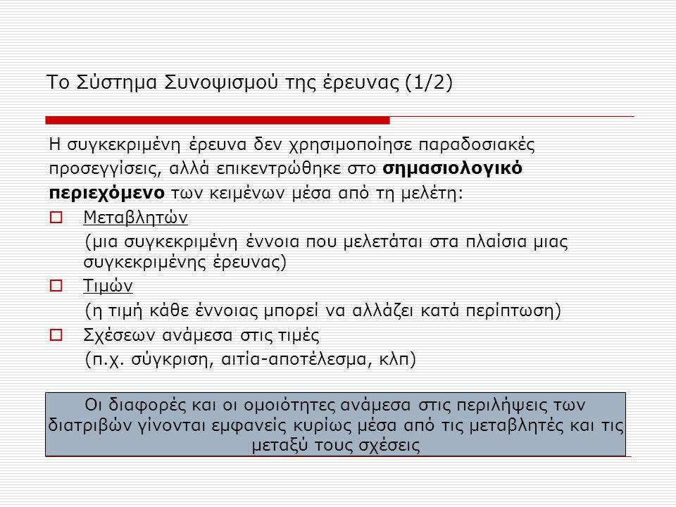 Το Σύστημα Συνοψισμού της έρευνας (1/2) Η συγκεκριμένη έρευνα δεν χρησιμοποίησε παραδοσιακές προσεγγίσεις, αλλά επικεντρώθηκε στο σημασιολογικό περιεχ