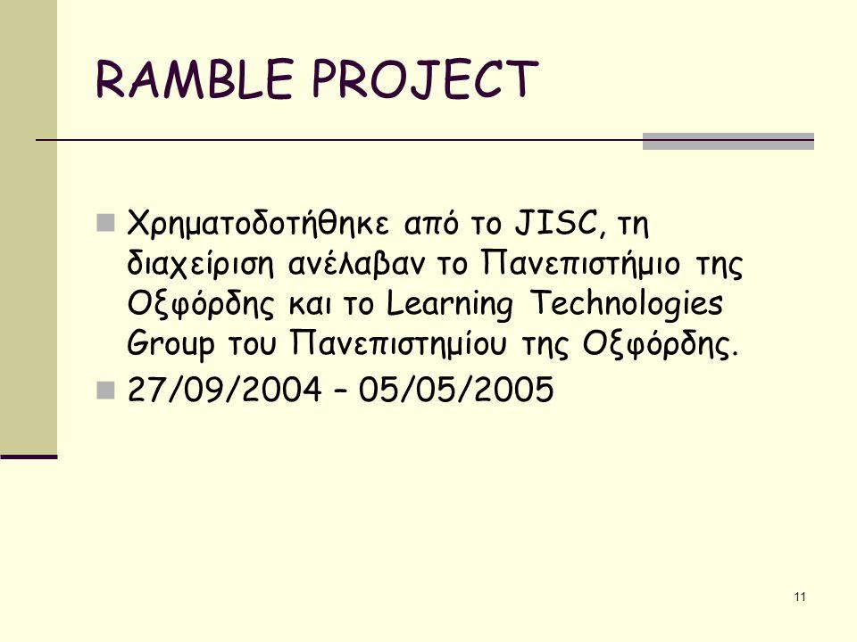 11 RAMBLE PROJECT Χρηματοδοτήθηκε από το JISC, τη διαχείριση ανέλαβαν το Πανεπιστήμιο της Οξφόρδης και το Learning Technologies Group του Πανεπιστημίου της Οξφόρδης.